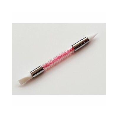Szilikon ecset - kétoldalú - rózsaszín